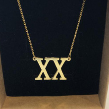 Roman Numeral Necaklce Gold Necklace Customized Personalized Pendant Custom Date