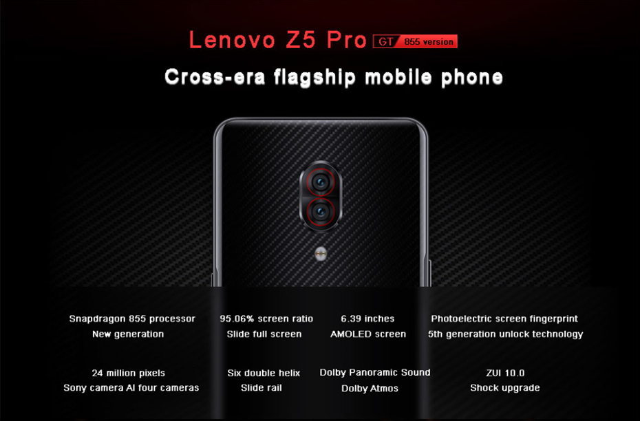 Глобальный Встроенная память lenovo Z5 Pro GT Snapdragon 855 смартфон 8 Гб Оперативная память 128 Гб 256 Встроенная память 6,39 ''-Экран отпечатков пальцев 24MP