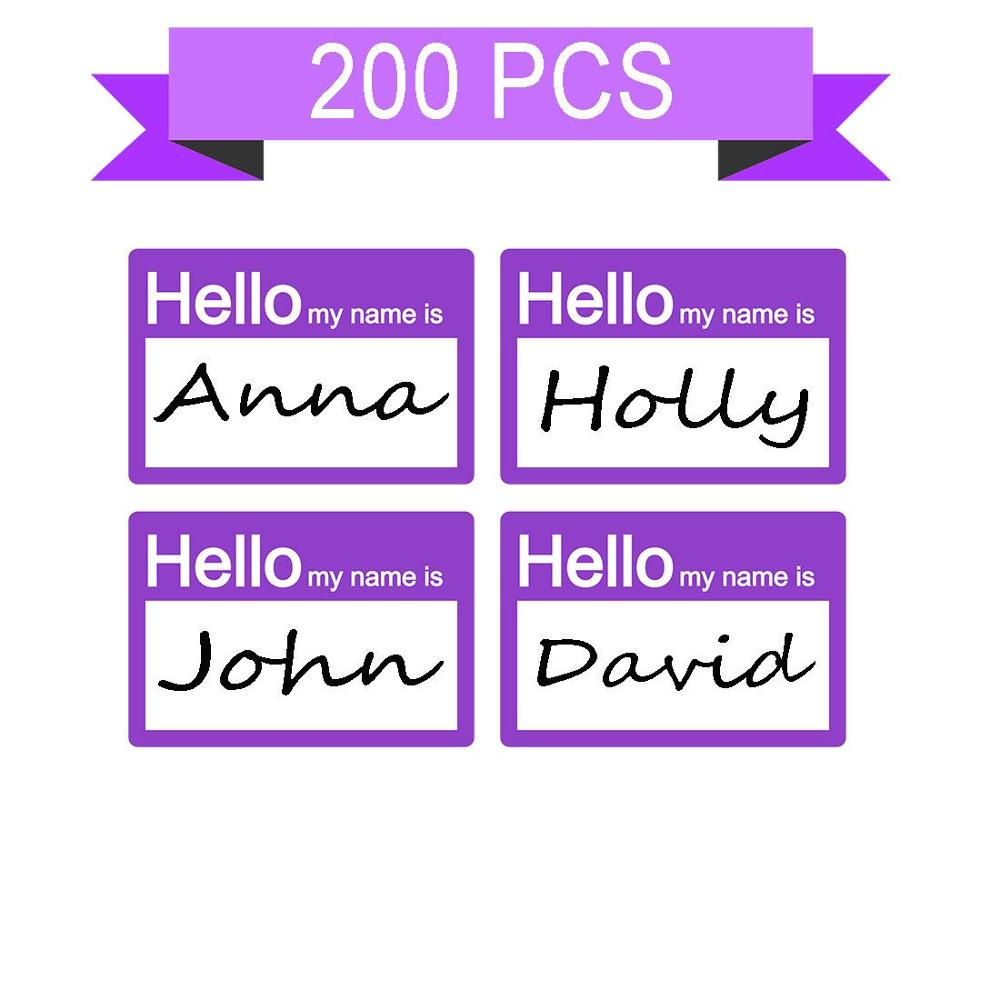 Hello My Name Is Stickers/Badges/Name Tag Labels Great For Kids, School, Employees,  Parties, Events/Pack Of 200 (Purple)