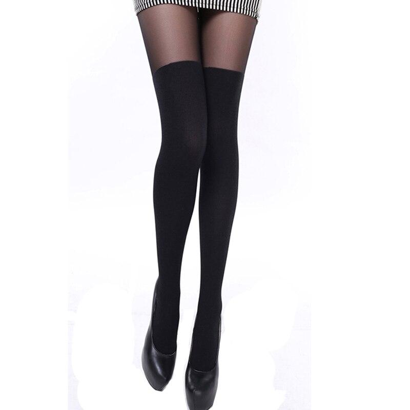 Medias sexys por encima de la rodilla para mujer, pantimedias de retazos con tirantes de tentación negra transparente de raya doble por debajo de 55kg