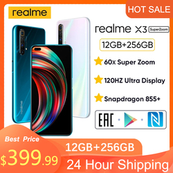 Realme X3 6.6''12GB+128GB NFC SuperZoom 64MP Snapdragon 855+120Hz Display 64MP 60X  4200mAh 30W Dart Charge 4G Mobile phone