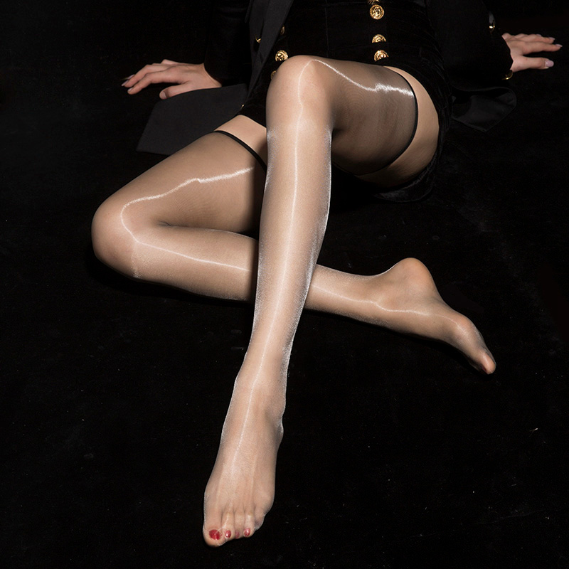 Ultra Thin 1D Oil Shinny Backline Stockings Sheer Gloosy High Stockings See Through Thigh Stockings Sexy Tight Shine Stockings F