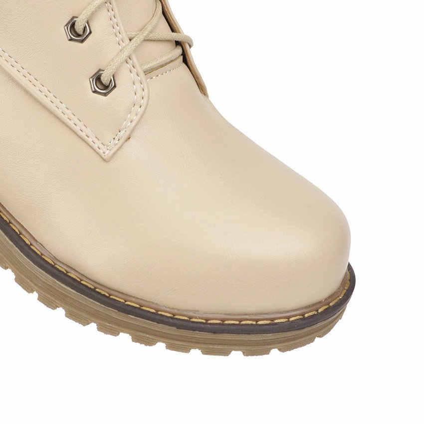 QUTAA 2020 Kare Düşük Topuk Kadın Ayakkabı Yuvarlak Ayak Hakiki Deri + PU Serin Kış Motosiklet Rahat yarım çizmeler Büyük Boy 34-43