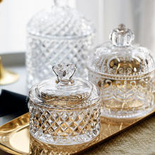 Nordic Crystal Glass With Lid Storage Tank Embossed Candy Cans Jewelry Storage Jar Snack Fresh Canister Married Festive Decor