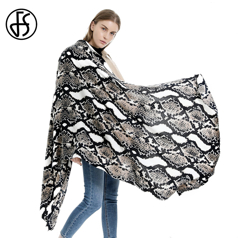 FS Luxury Brand Women Winter Scarfs Snake Print Cashmere Shawl Warm Blanket Scarf Gray Black Soft Long Cape Femme