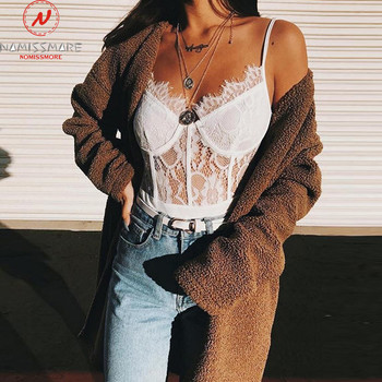Lace Bodysuit for Women Patchwork Design Lace Decor Sling V-Neck Sleeveless Backless Solid Color Slim Party Streetwear Bodysuits 3