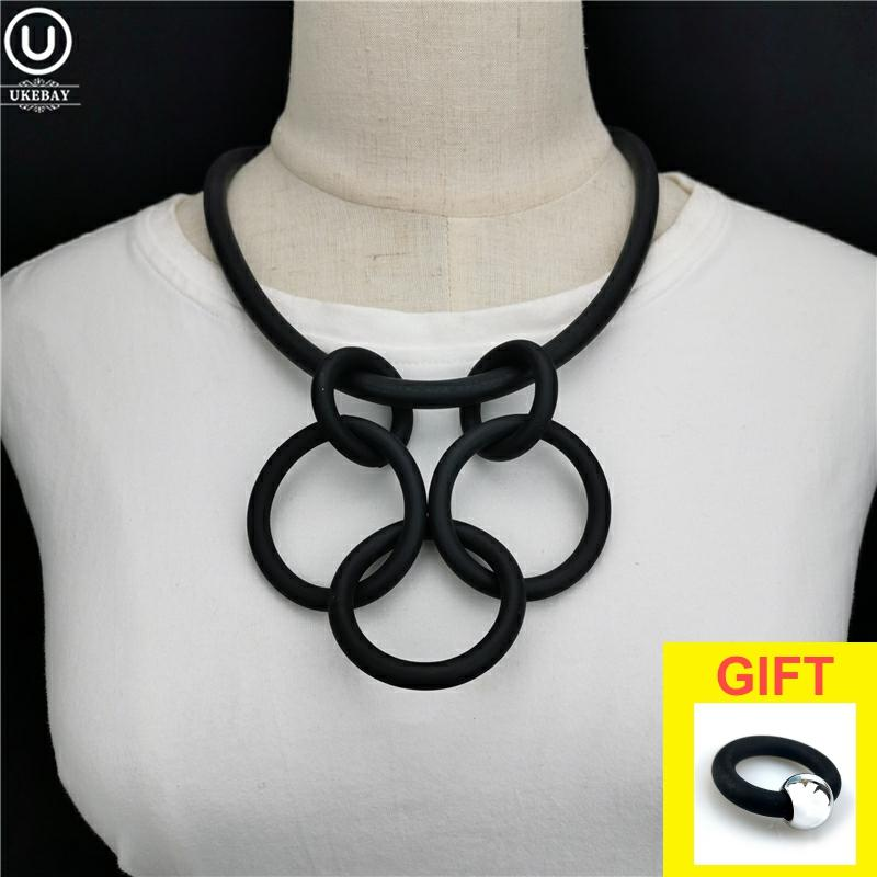 UKEBAY New Simple Geometric Pendant Necklace Statement Choker Necklaces Women Fashion Handmade Jewelry Rubber Accessories Gothic
