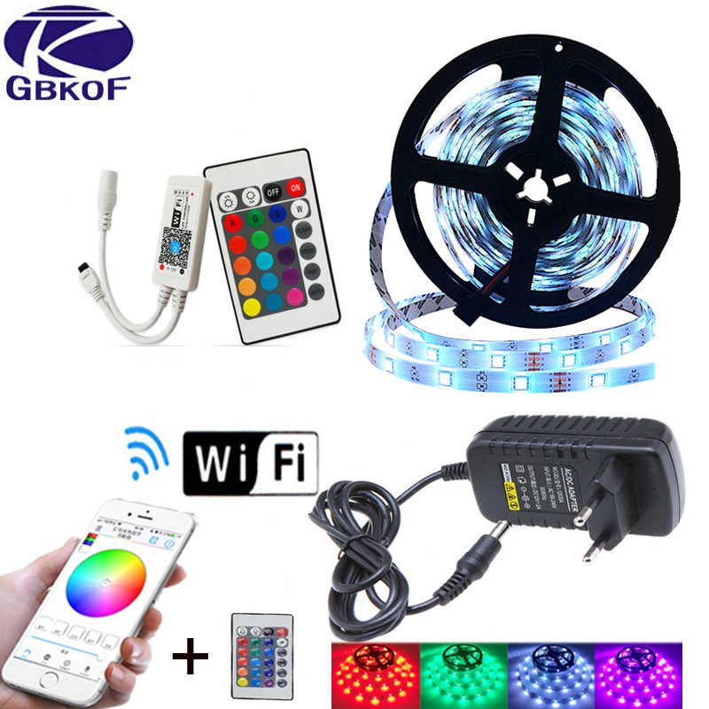 Led Strip Licht 2835 SMD RGB Tape 5M 10M 15M 20M DC12V 3528 5050 Flexibele RGB LED Streep Lint Diode + WiFi Controller + Adapter