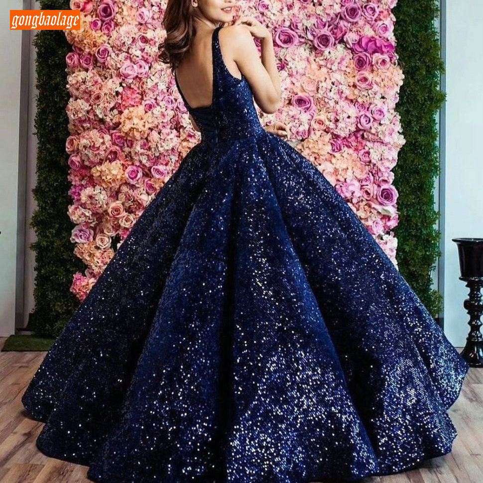 Sparkly Arabic Dark Navy Evening Gowns Long V Neck Bling Illusion Fluffy Ball Gown Evening Dresses Arabian Pageant Formal Dress
