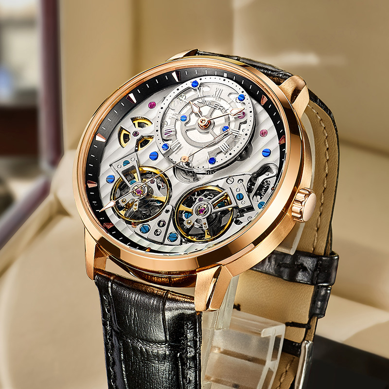 JINLERY Special Double Tourbillon Watch Automatic Mechanical Watch Men Fashion 2021 New Men