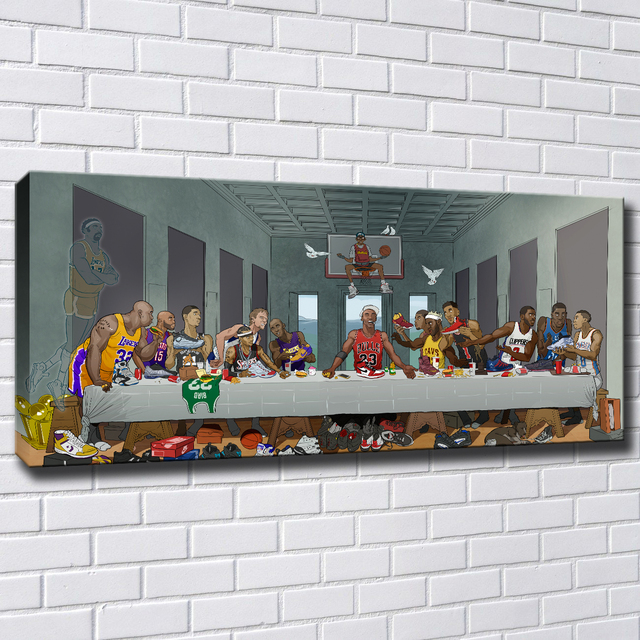 Basketball Players Last Supper HD Painting Printed on Canvas 1