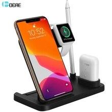 DCAE Drahtlose Ladestation Dock für Apple Uhr 5 4 3 2 Airpods iWatch 10W Schnelle Qi Ladegerät Stehen für iPhone 11 Pro XS XR X 8