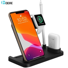 DCAE Wireless Charging Station Dock for Apple Watch 5 4 3 2 Airpods iWatch 10W Fast Qi Charger Stand For iPhone 11 Pro XS XR X 8