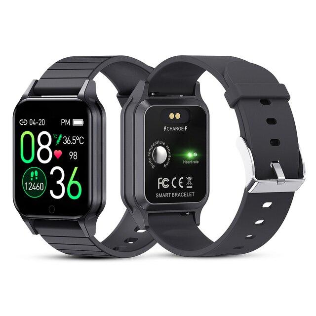 T96 temperatury ciała Smart Watch mężczyźni kobiety pulsometr pomiar ciśnienia krwi Bluetooth inteligentny dla Android IOS
