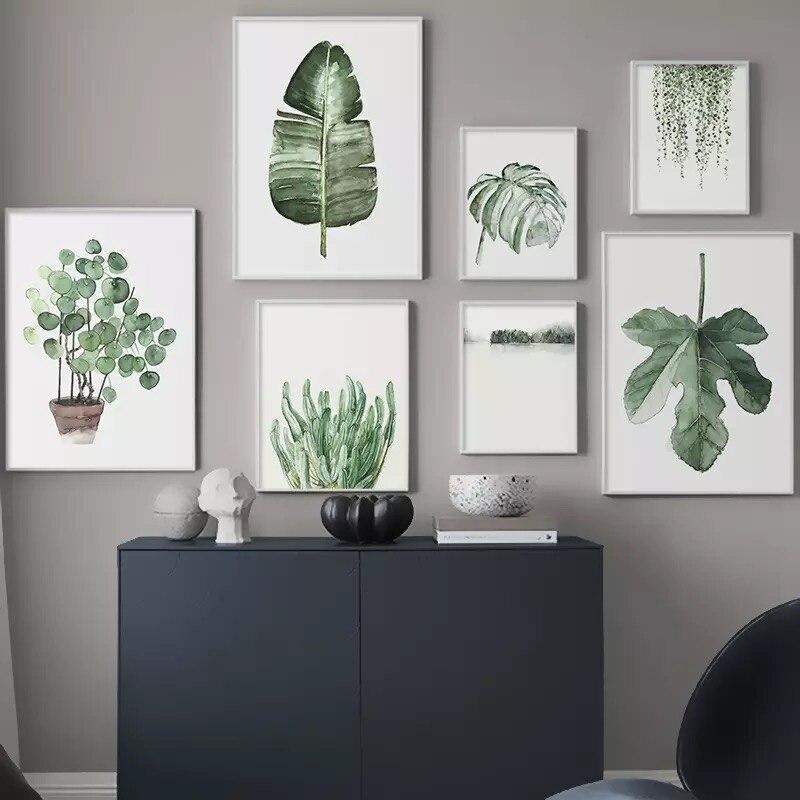 Настенная Картина на холсте с акварельными листьями в скандинавском стиле, плакаты и принты с зелеными растениями, декоративная картина, Современное украшение для дома