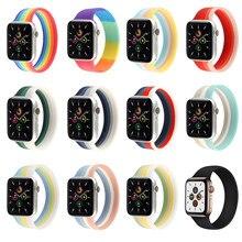 Adequado para apple watch 6 se 5 4 3 2 único laço elástico arco-íris silicone cinta para iwatch 38mm 42mm 40mm 44mm pulseira esportiva