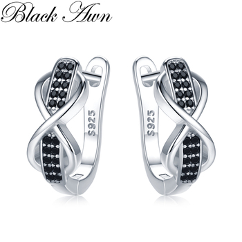 2020 Black Awn 925 Sterling Silver Round Black Trendy Spinel Engagement Bow Hoop Earrings for Women Fine Jewelry Bijoux I157 [black awn] wedding stud earrings for women genuine 925 sterling silver jewelry black spinel stone boucle d oreille brincos t038