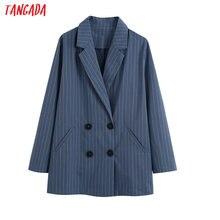Tangada women vintage blue striped blazer female long sleeve