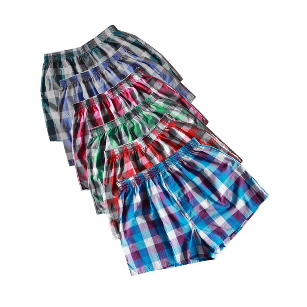 Mens Underwear Boxer-Shorts Panties Trunks Classic Male Cotton 4PCS Plaid for Woven Homme