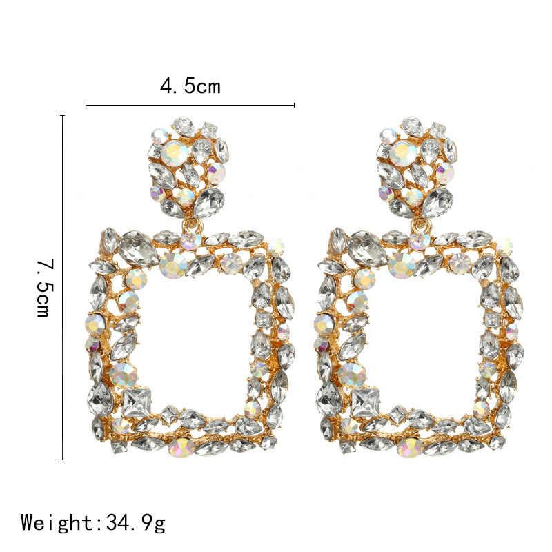 2019 pendientes Vintage grandes para mujeres pendientes de declaración geométricos de color dorado pendientes colgantes de metal tendencia joyería de moda