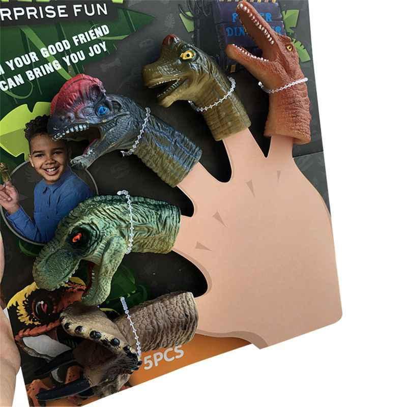 5 pièces/lot réaliste dinosaure doigt marionnettes ensemble jeu de rôle jouet enfants raconter histoire accessoire