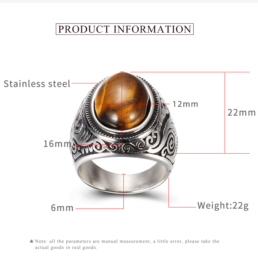 Wholesale Retro Jewelry Stone Rings For Men Titanium Steel Inlaid Three Colors Onyx Ring Men Domineering Opal Ring 3