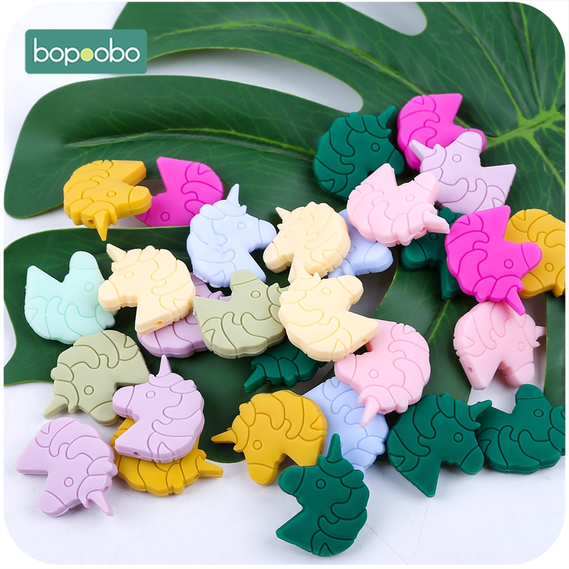 Bopoobo BPA Free  Silicone Beads Baby Teether Silicone Unicorn Head 20PC Silicone Teether For Kids   Beads Silicone Baby Teether