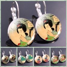 Japan Traditional Culture Picture Earrings Woman We