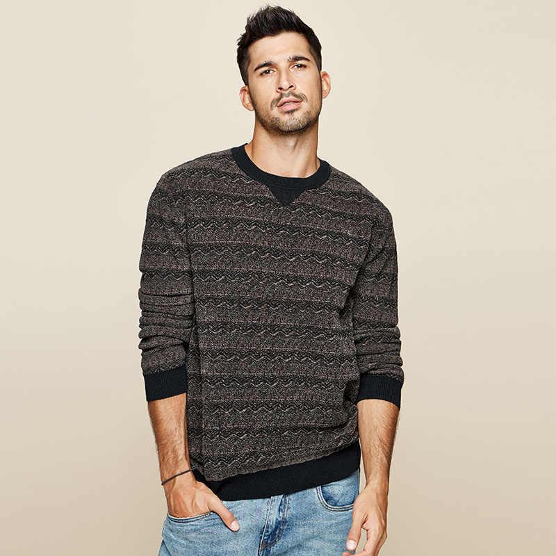KUEGOU 2019 가을 코튼 스트 라이프 블랙 스웨터 남성 풀오버 캐주얼 점퍼 남성 의류 브랜드 니트 한국 스타일 의류 12673