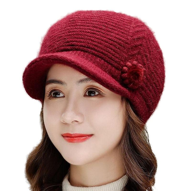 BINGYUANHAOXUAN New Autumn Winter Women Hats Caps Flower Rabbit Fur Berets Warm For Mother Hat Cap Fashion Solid Beret