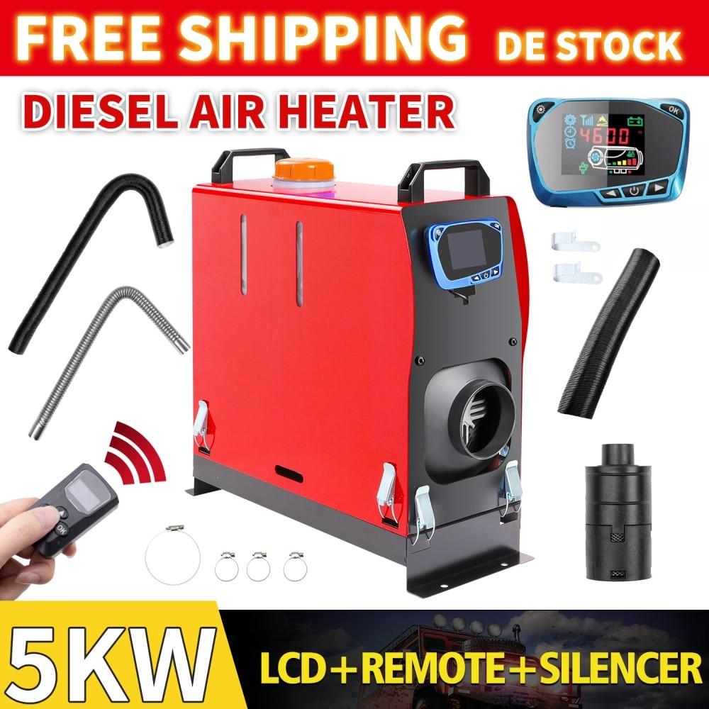 5kw 12v ar diesel calefator 4 furos lcd monitor planar 12v tudo em um combustível estacionamento aquecedor para caminhões motorhome barcos ônibus