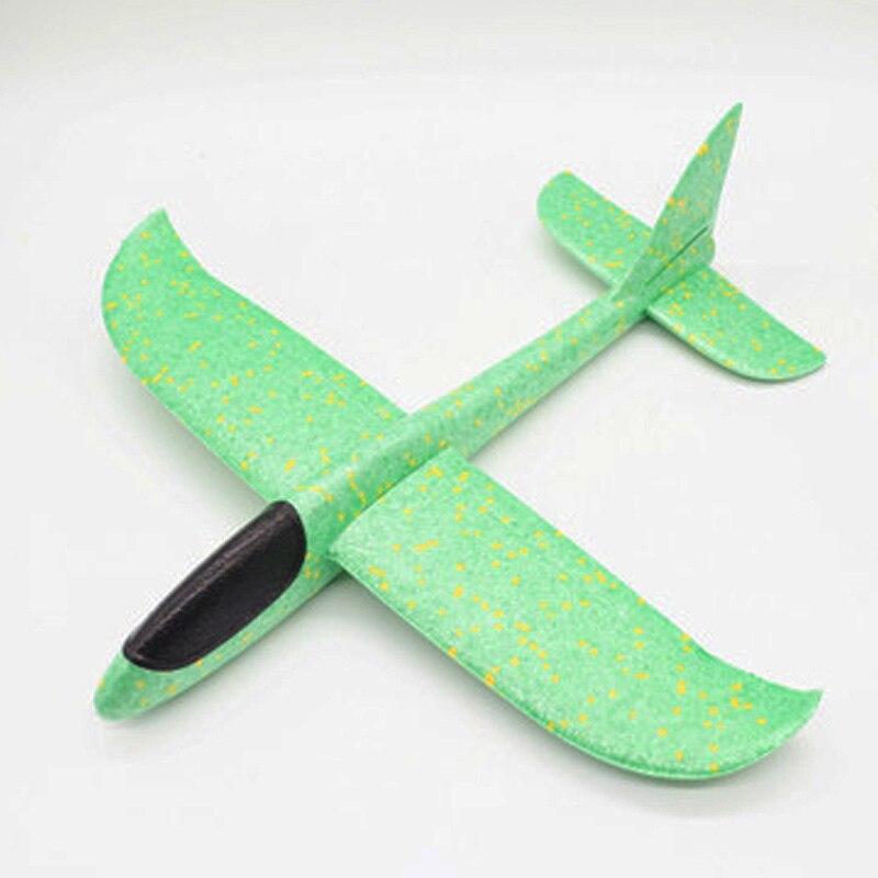 35 см детские игрушки «сделай сам» ручной бросок летающий самолет s пена модель аэроплана светится в темноте Летающий Plane Самолет игрушки для детей - Цвет: 48cm Not Lamp Green