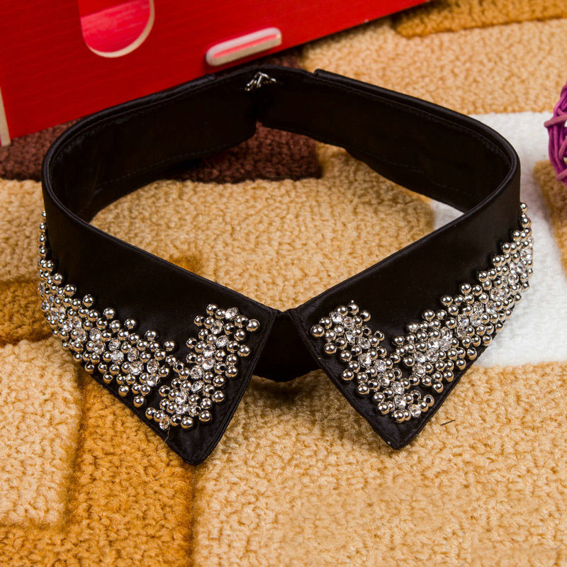 Black Rhinestone Fake Collar Women Detachable Collar Ladies Crystal False Collar Shirt Beads Neckwear Cloth Apparel Accessory