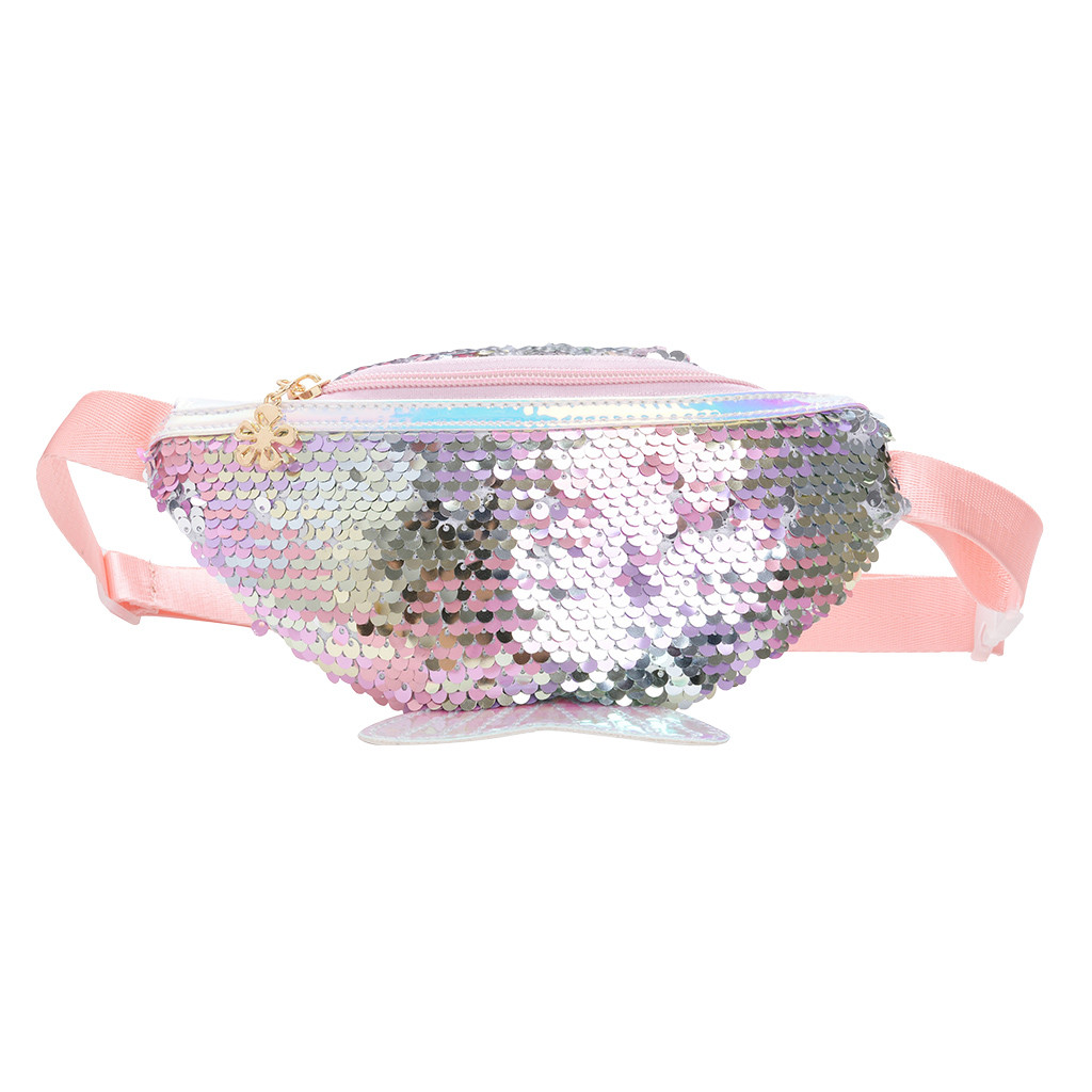 Kids Fanny Pack Fashion 2019 Women Children Shoulder Bag Fishtail Bag Sequins Crossbody Bag Messenger Shoulder Bags New Design