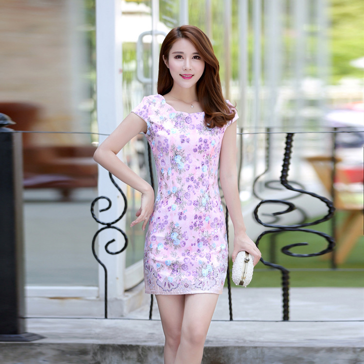 Hot Selling Daily Life-Style Jacquard Cotton Short Cheongsam Dress-Style Retro Slim Fit Cheongsam