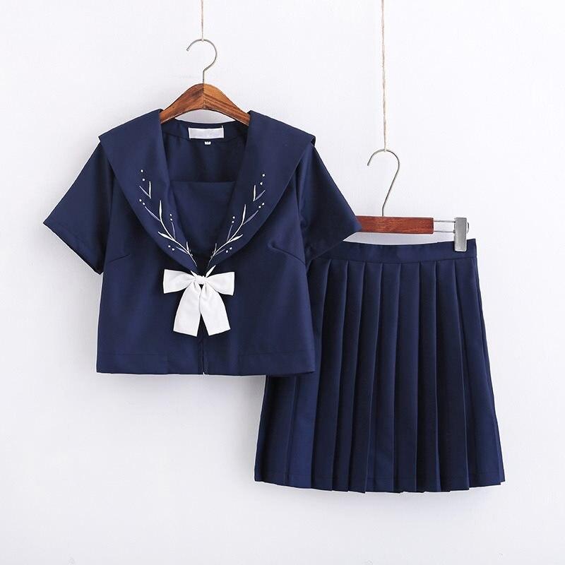Dark Blue Japanese High School Uniform JK Sets Girls Sailor Style Suits Silver Spike Embroidery Plus Size School Uniform