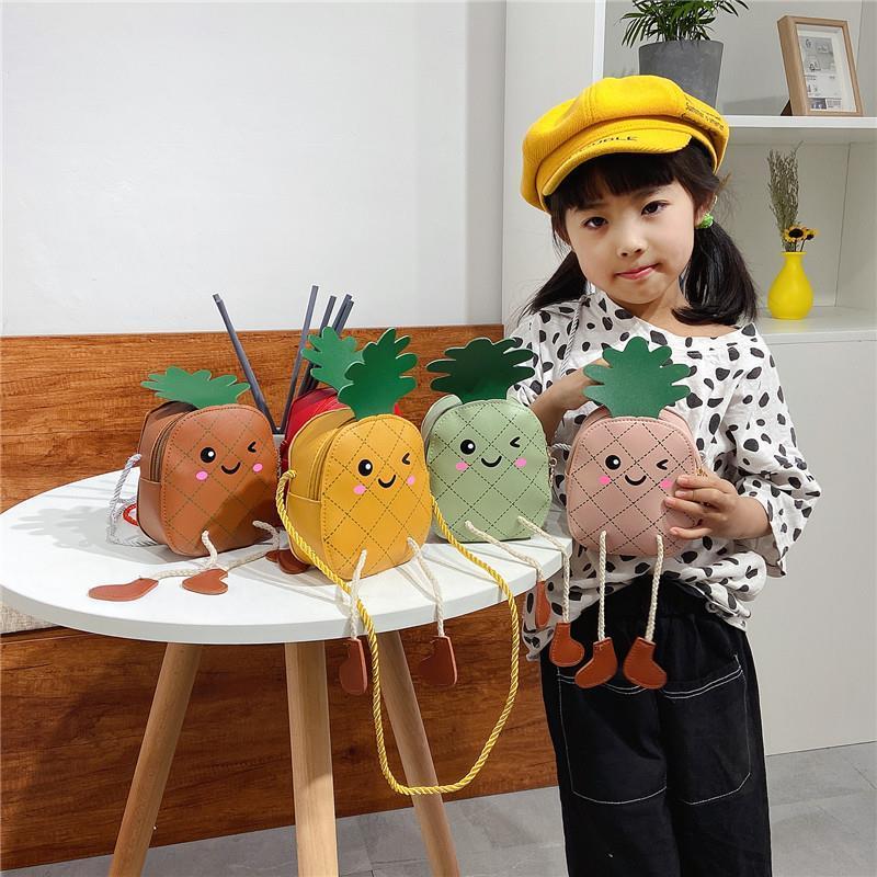 Children Lovely Coin Purse PU Leather Cartoon Pineapple Girls Crossbody Bags Kids Mini Shoulder Bags Cute Accessories Money Bag