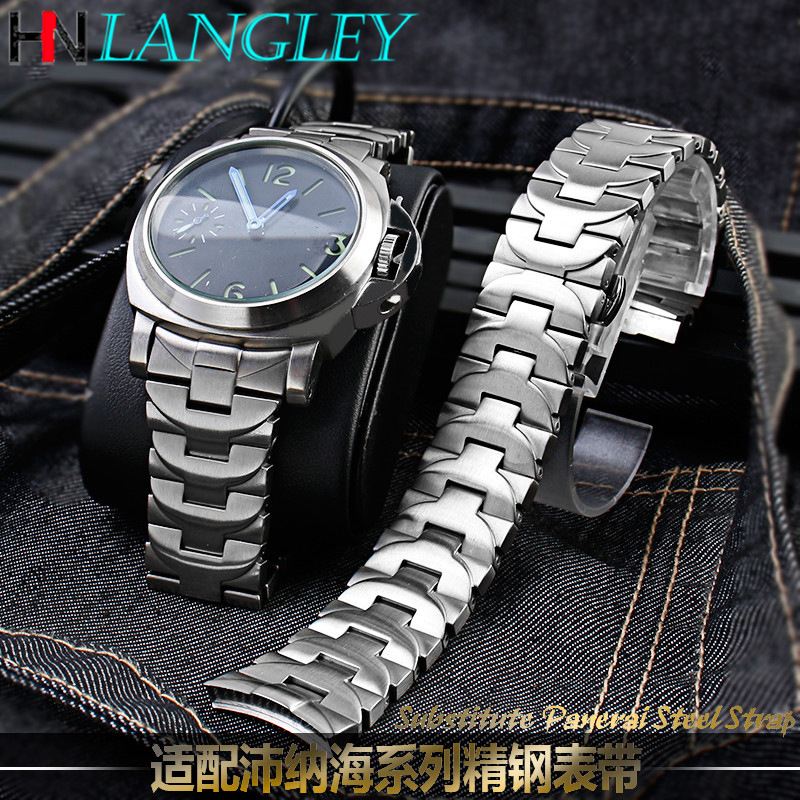 24MM Watch Band For PANERAI LUMINOR Marina PAM 164 Bracelet Heavy 316L Stainless Steel Watch Band Replacement Strap