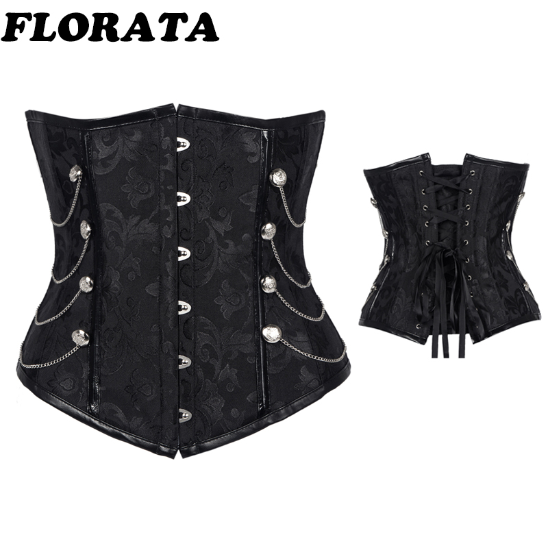 Black Sexy   Corset   Women's   Corsets   and   Bustiers   Overbust Gothic Strapless Brocade Corselet Clothing Plus Size S-2XL