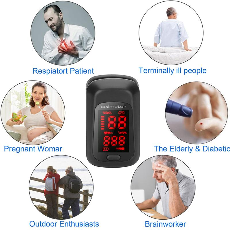 Fingertip Pulse Oximeter Blood Pressure Oximetry Heart Rate Monitor SpO2 Oximetry Monitor (Black Without Battery)