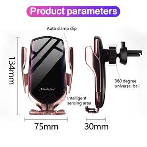 Image 5 - Cargador rápido de 10W con sujeción automática, cargador inalámbrico para coche, soporte para teléfono con Sensor infrarrojo Qi para iPhone 11 Xs Huawei P30 Pro Samsung