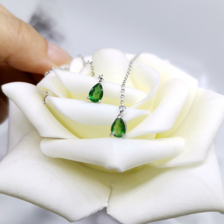 Натуральный изумруд серьги-нити капли воды ювелирные изделия стерлингового серебра Рождественский подарок для девочек