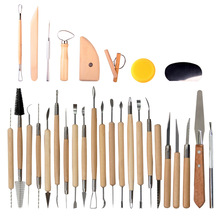 30 шт. Керамика Глина скульптура инструменты DIY глина для художественных работ инструменты для гончарного дела набор керамики и керамики деревянные ручки инструменты для лепки из глины