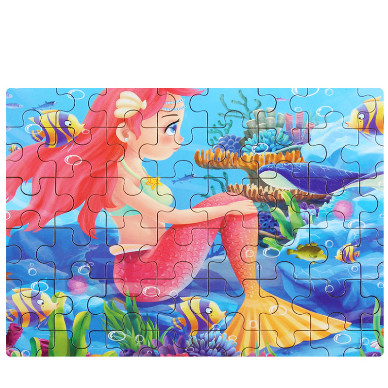 New 60 Pieces Wooden Puzzle Kids Toy Cartoon Animal Wood Jigsaw Puzzles Child Early Educational Learning Toys For Christmas Gift
