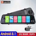 Bluacido 4g adas android dvr 7 espelho retrovisor gps carro gravador de vídeo fhd 1080 p traço cam com câmera reversa wi fi monitor ao vivo