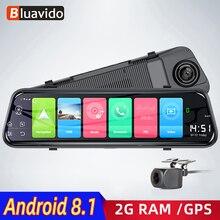 """Bluavido câmera de ré automotiva, 4g, adas, android dvr, 7 """", espelho retrovisor, gps, gravador de vídeo, fhd 1080p com câmera reversa wi fi monitor ao vivo"""