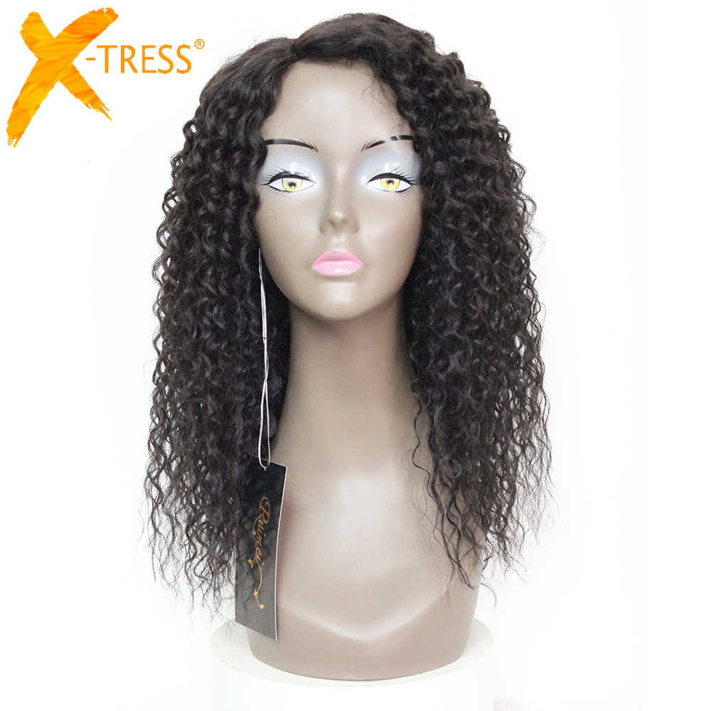 X-TRESS Black Colored Synthetic Mixed 30% Human Hair Wigs For Black Women Kinky Curly 20inches invisible skin Machine Made Wig