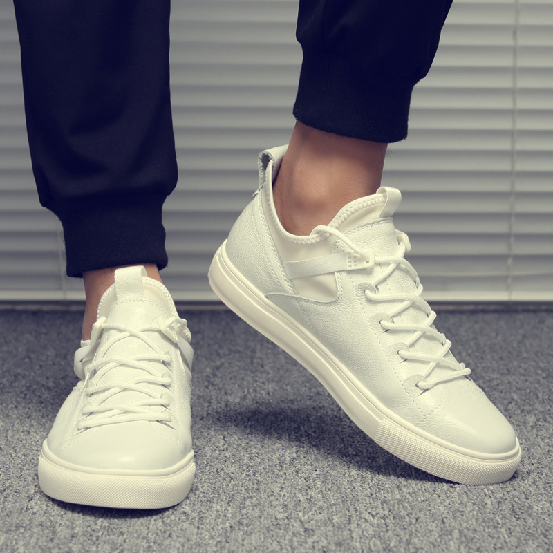 Casual-Shoes Sneakers Lace-Up Spring-Autumm Leisure White Fashion Black Students Solid