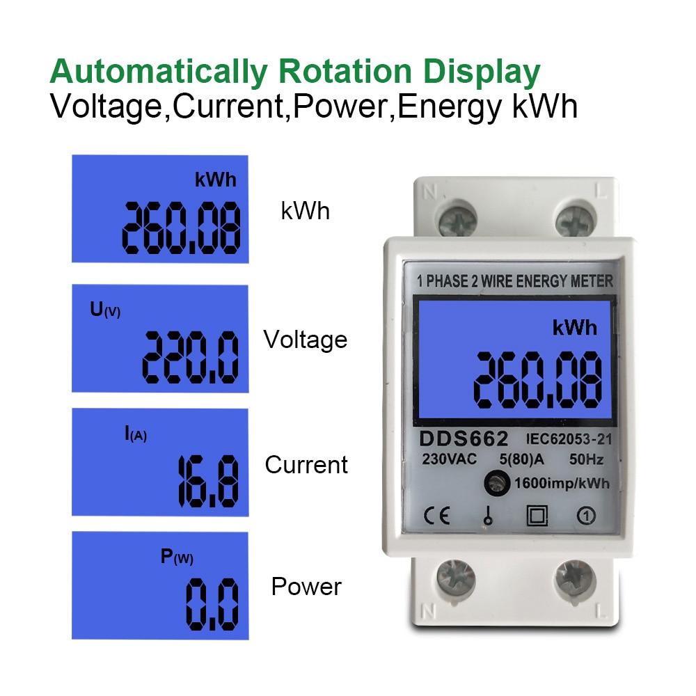 Medidor elétrico kwh ac 220v 230v 50hz/60hz da energia do consumo de energia do lcd da fase monofásica dois fios do trilho do ruído 80a