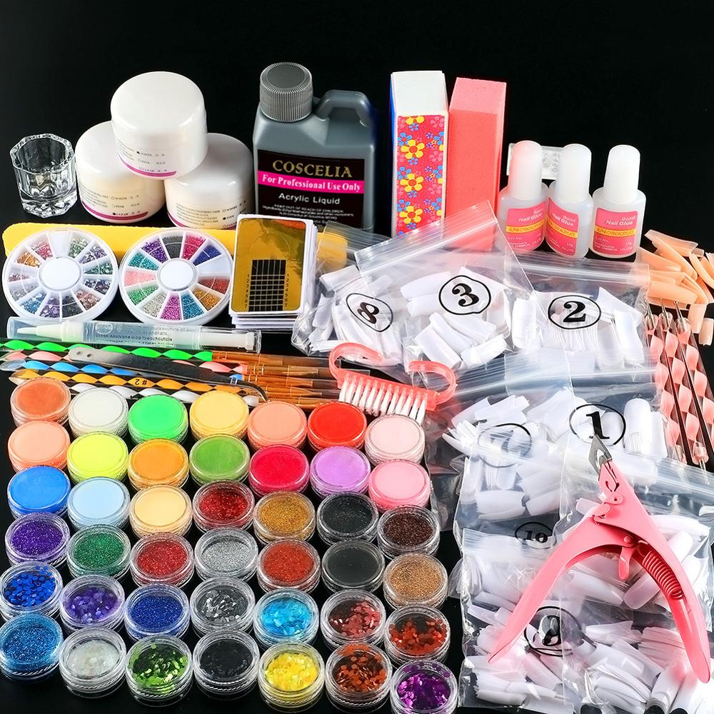 Pro Nail Acrylic Kit Powder Glitter Full Manicure Set For Nail Art Liquid Decoration Crystal Brush Tips Tools Kit For Manicure 7